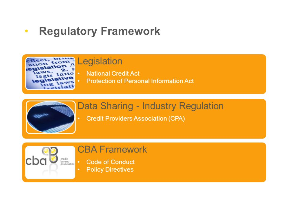 Regulatory Framework Legislation National Credit Act Protection of Personal Information Act Data Sharing - Industry Regulation Credit Providers Association (CPA) CBA Framework Code of Conduct Policy Directives