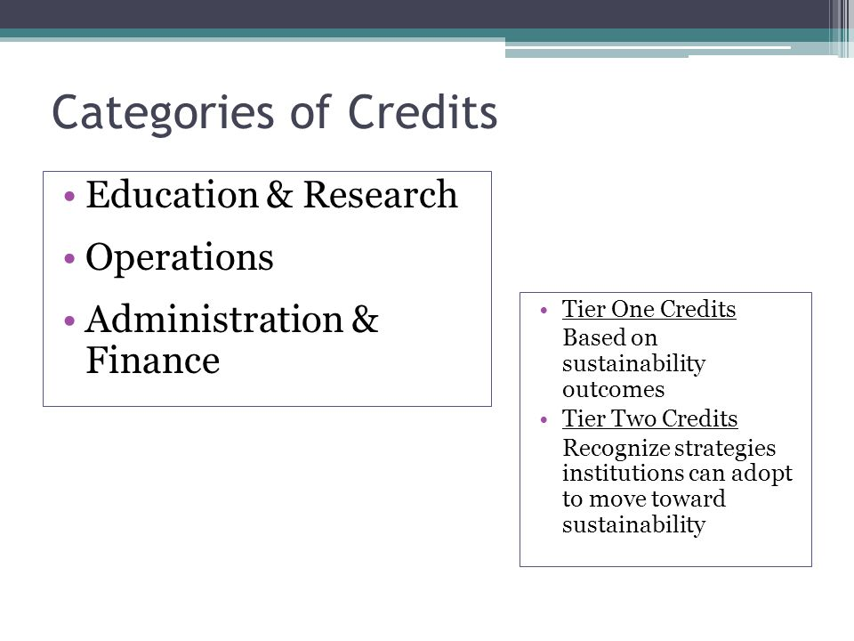 Categories of Credits Education & Research Operations Administration & Finance Tier One Credits Based on sustainability outcomes Tier Two Credits Recognize strategies institutions can adopt to move toward sustainability