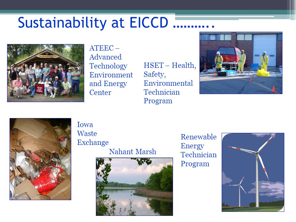 Sustainability at EICCD ………..