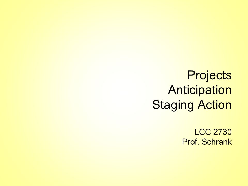 Lecture Overview Project Advice Anticipation –each action is a micronarrative Staging –of Character (Silhouette) –of Camera (Composition)