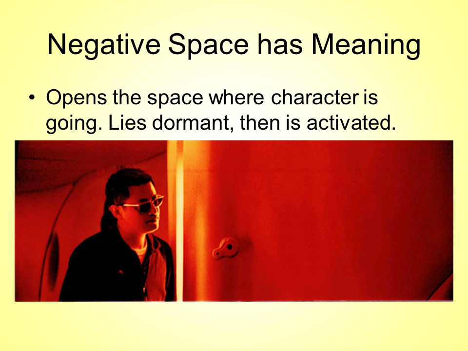 Negative Space has Meaning Opens the space where character is going.