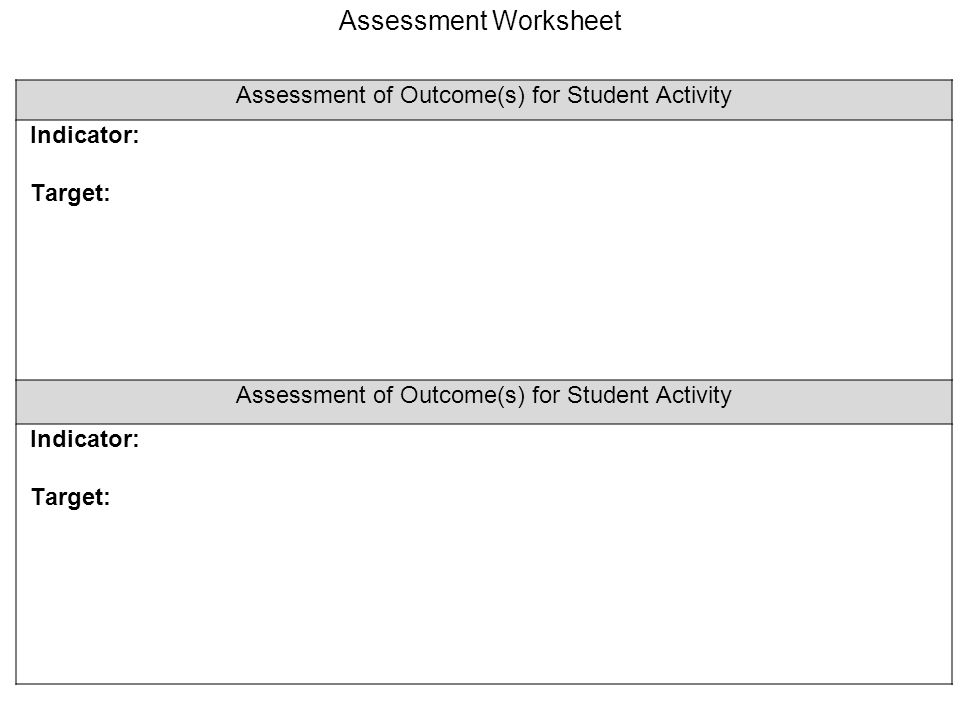 Assessment of Outcome(s) for Student Activity Indicator: Target: Assessment of Outcome(s) for Student Activity Indicator: Target: Assessment Worksheet