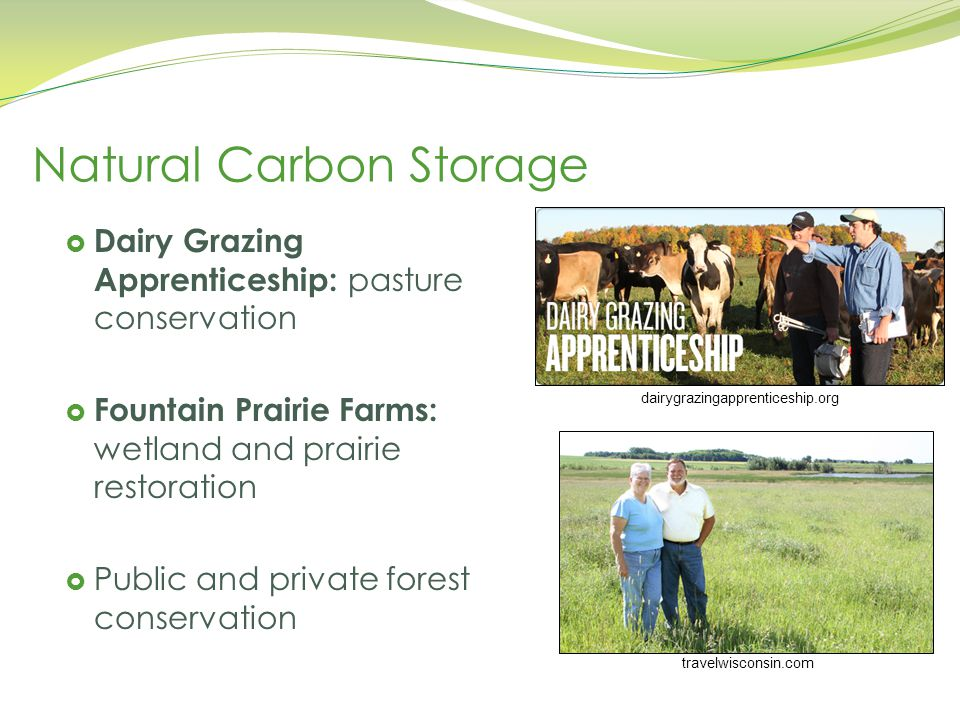 travelwisconsin.com dairygrazingapprenticeship.org Natural Carbon Storage  Dairy Grazing Apprenticeship: pasture conservation  Fountain Prairie Farms: wetland and prairie restoration  Public and private forest conservation