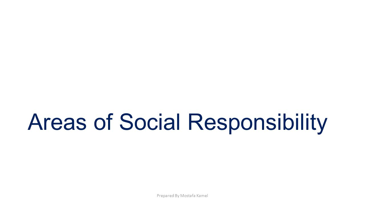 Areas of Social Responsibility Prepared By Mostafa Kamel