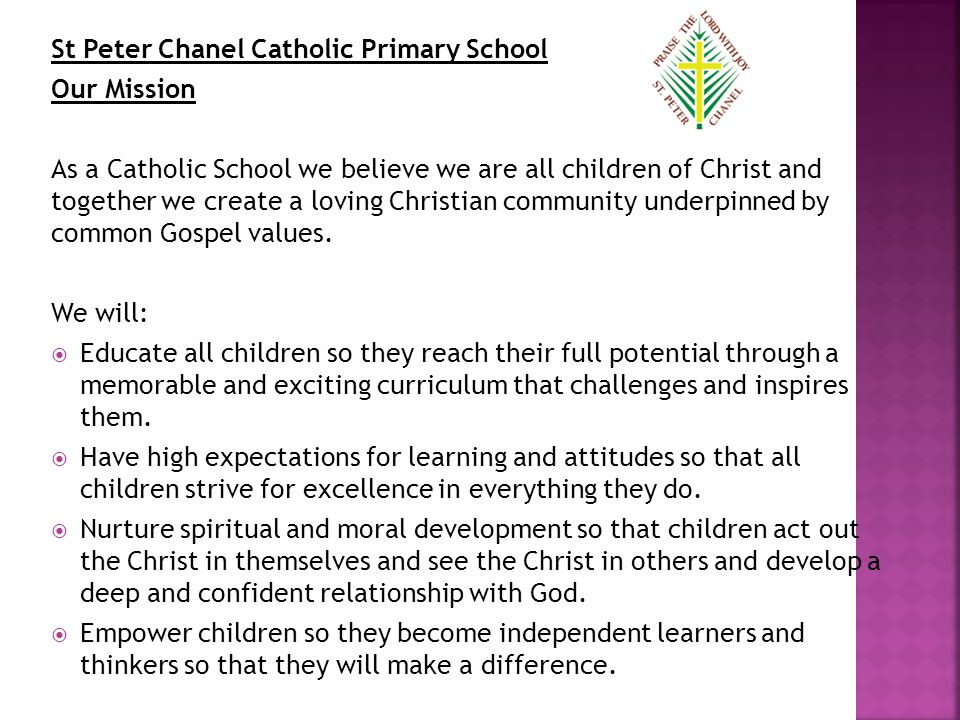 St Peter Chanel Catholic Primary School Our Mission As a Catholic School we believe we are all children of Christ and together we create a loving Christian community underpinned by common Gospel values.
