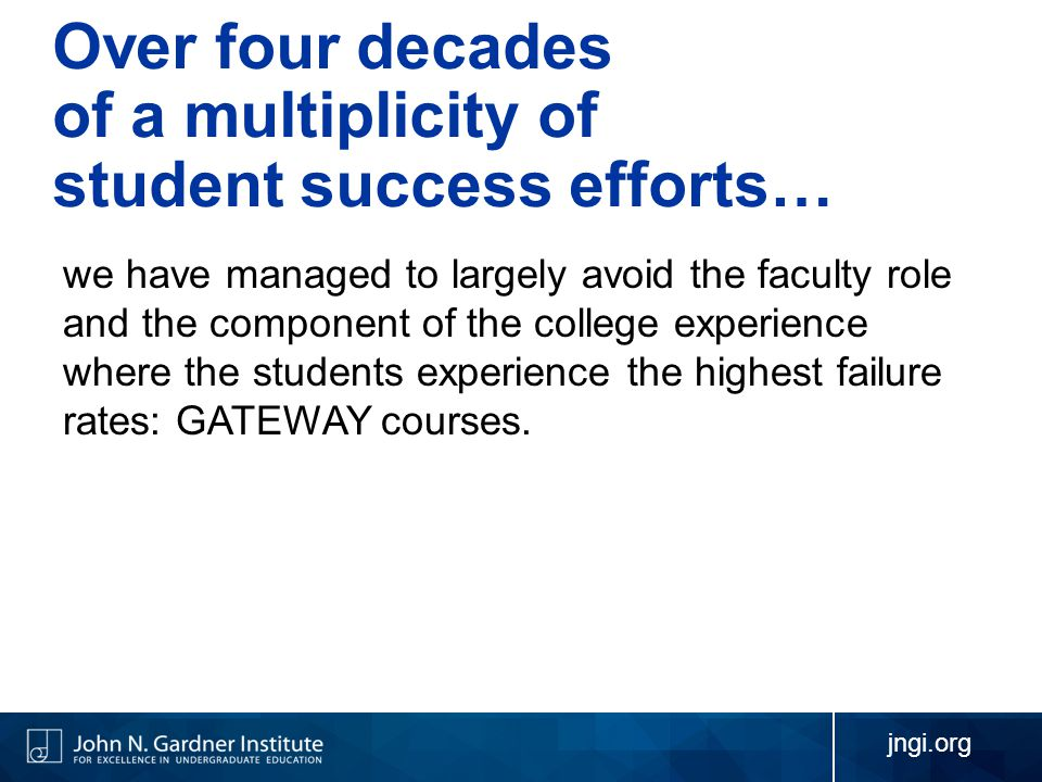 Over four decades of a multiplicity of student success efforts… we have managed to largely avoid the faculty role and the component of the college experience where the students experience the highest failure rates: GATEWAY courses.