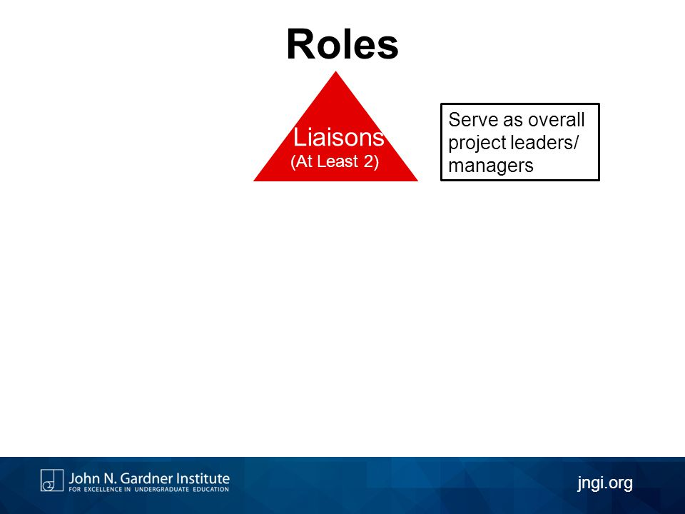 Roles Liaisons (At Least 2) jngi.org Serve as overall project leaders/ managers