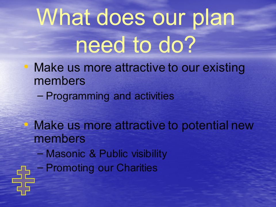 What does our plan need to do.