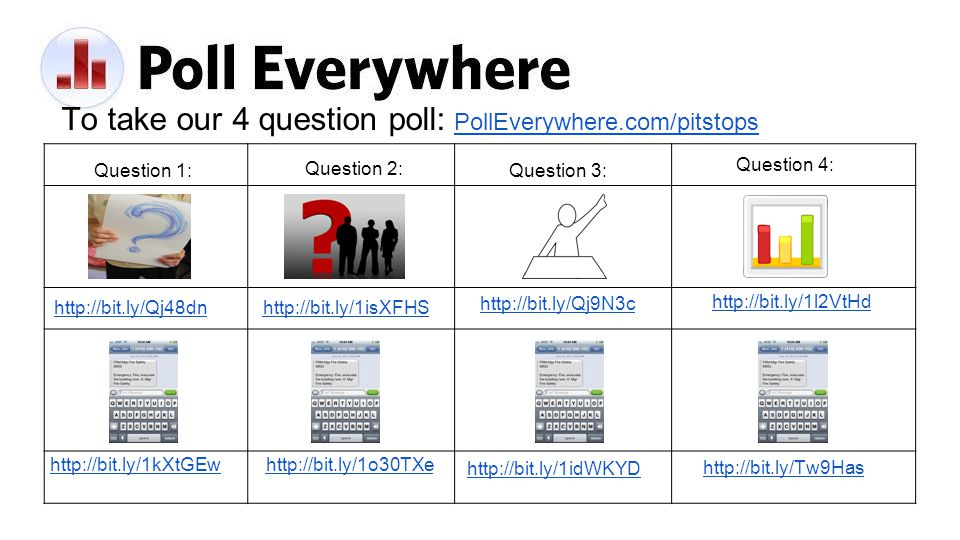 To take our 4 question poll: PollEverywhere.com/pitstopsPollEverywhere.com/pitstops http://bit.ly/1kXtGEw Question 1: http://bit.ly/Qj48dn Question 2: http://bit.ly/1isXFHS http://bit.ly/1o30TXe Question 3: http://bit.ly/Qj9N3c http://bit.ly/1idWKYD http://bit.ly/Tw9Has Question 4: http://bit.ly/1l2VtHd