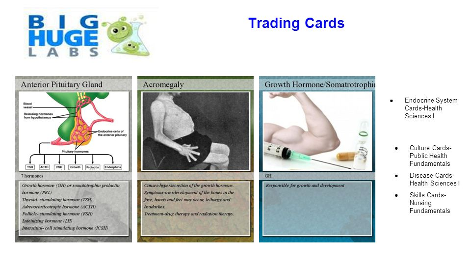 Trading Cards ●Endocrine System Cards-Health Sciences I ●Culture Cards- Public Health Fundamentals ●Disease Cards- Health Sciences I ●Skills Cards- Nu