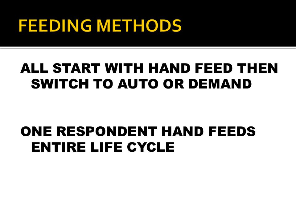 ALL START WITH HAND FEED THEN SWITCH TO AUTO OR DEMAND ONE RESPONDENT HAND FEEDS ENTIRE LIFE CYCLE
