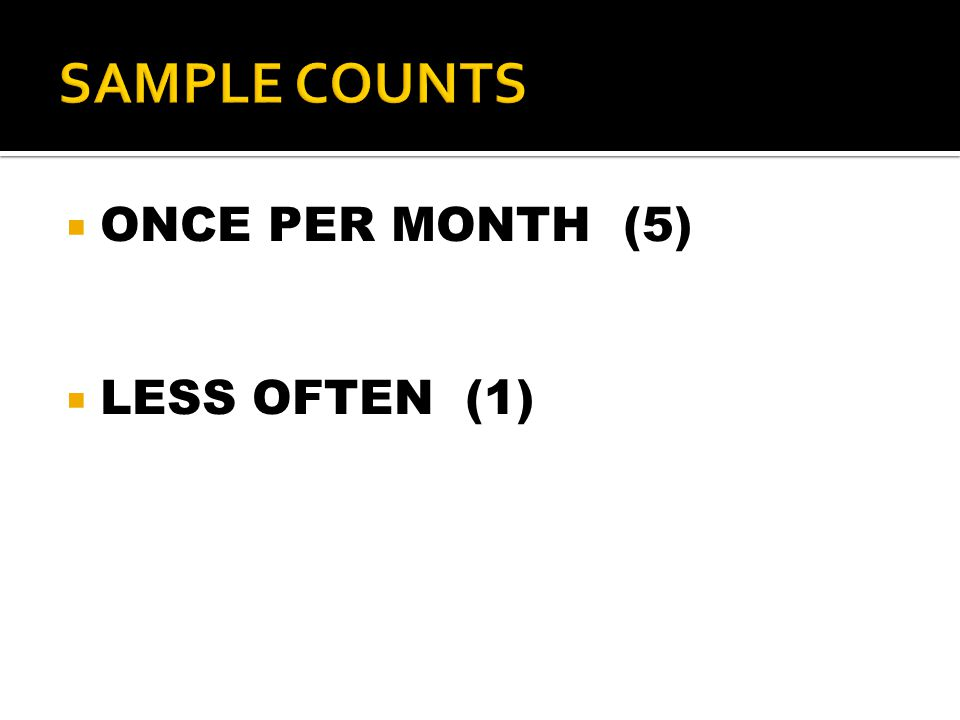  ONCE PER MONTH (5)  LESS OFTEN (1)