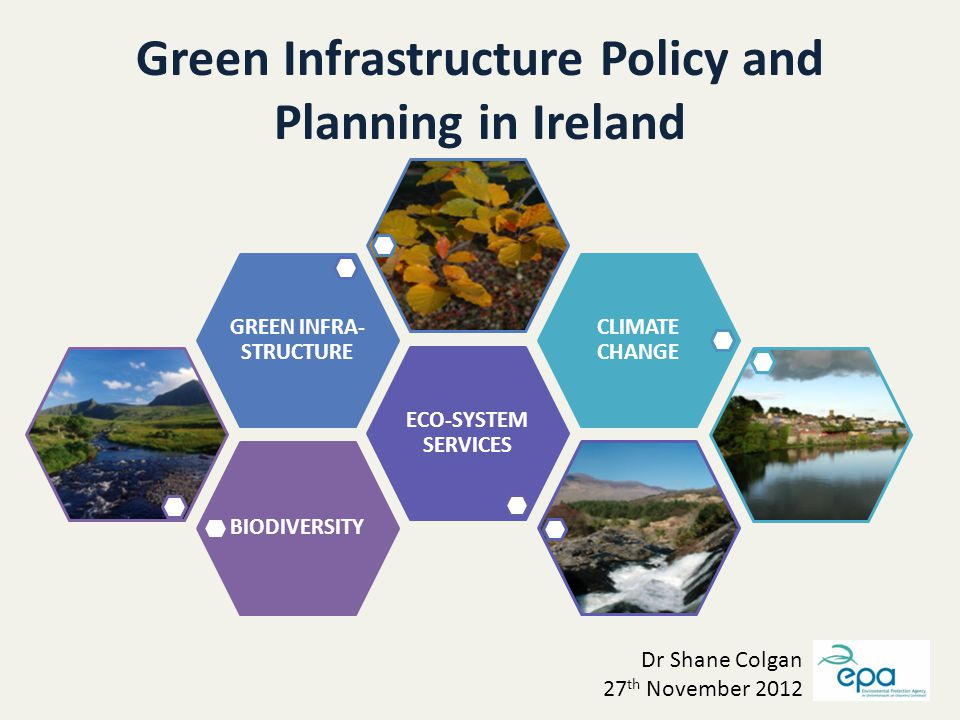 Green Infrastructure Policy and Planning in Ireland BIODIVERSITY ECO-SYSTEM SERVICES GREEN INFRA- STRUCTURE CLIMATE CHANGE Dr Shane Colgan 27 th November 2012
