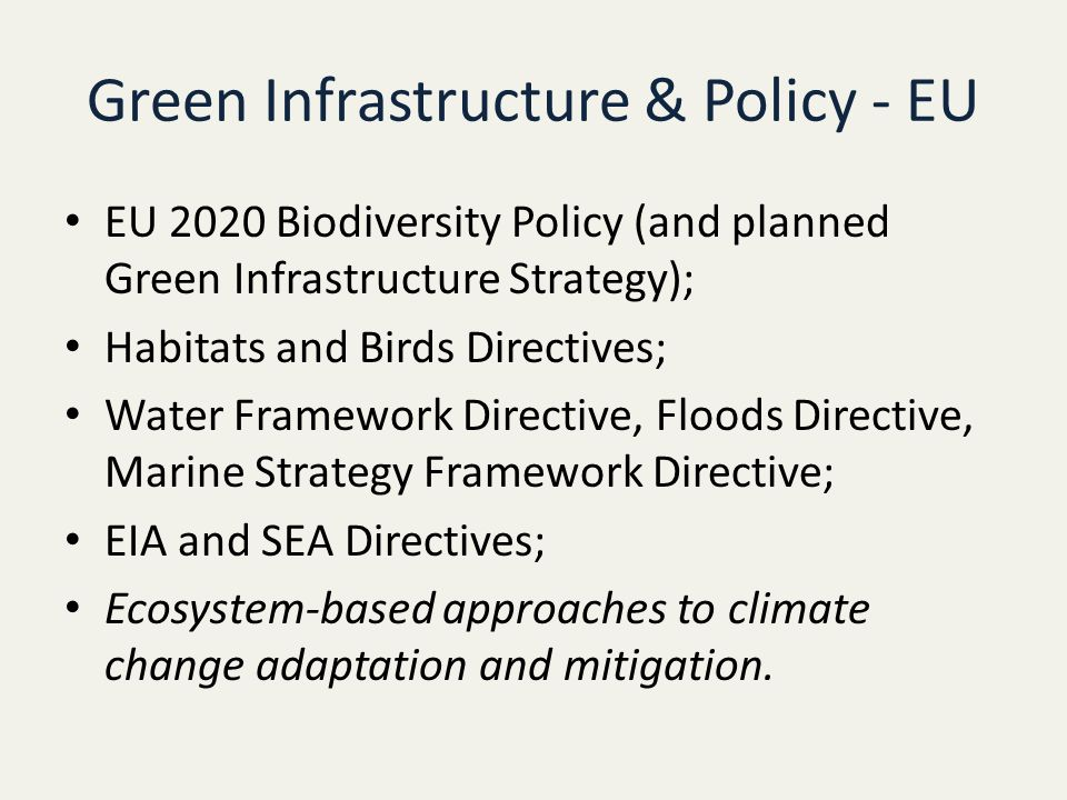Green Infrastructure & Policy - EU EU 2020 Biodiversity Policy (and planned Green Infrastructure Strategy); Habitats and Birds Directives; Water Framework Directive, Floods Directive, Marine Strategy Framework Directive; EIA and SEA Directives; Ecosystem-based approaches to climate change adaptation and mitigation.