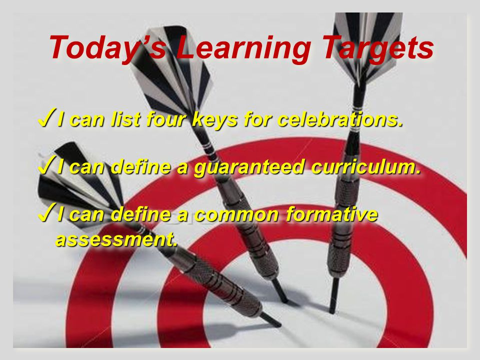 Today's Learning Targets ✓ I can list four keys for celebrations.
