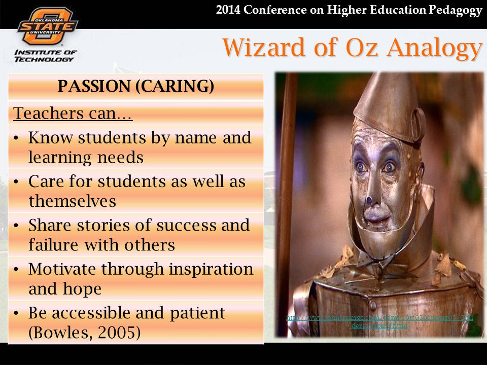 2014 Conference on Higher Education Pedagogy Wizard of Oz Analogy PASSION (CARING) Teachers can… Know students by name and learning needs Care for stu