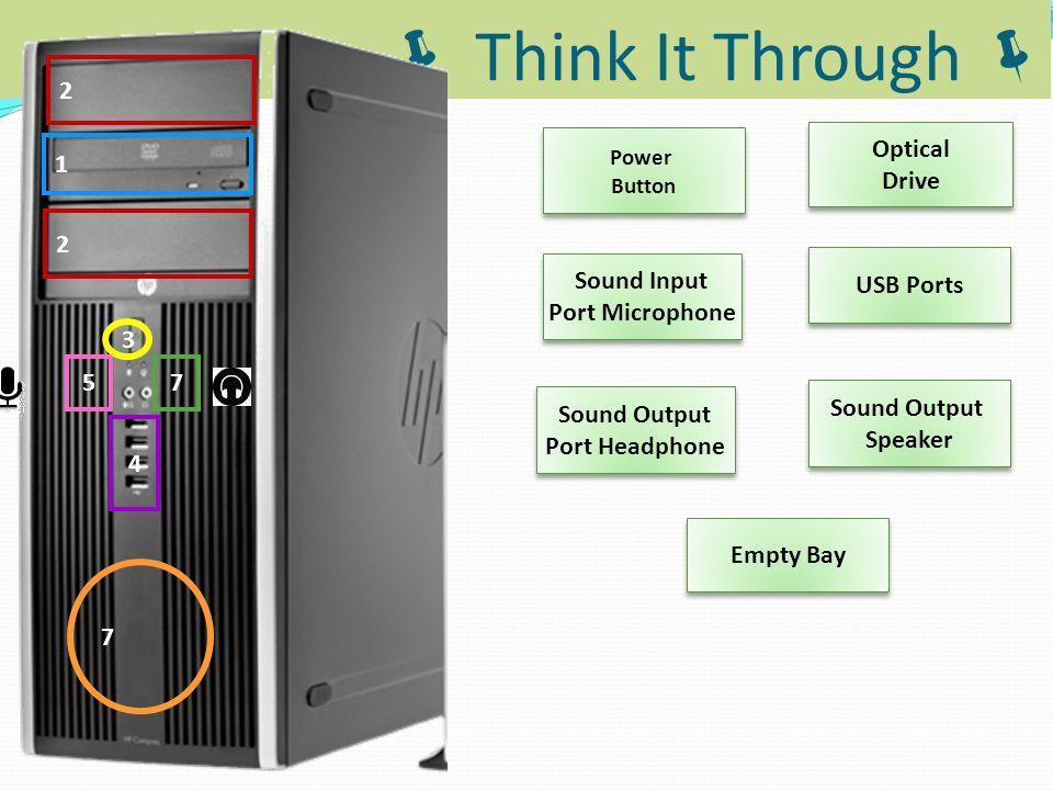  Think It Through  2 4 5 7 1 3 7 2 Power Button Sound Output Speaker Sound Input Port Microphone Sound Input Port Microphone Optical Drive Optical D