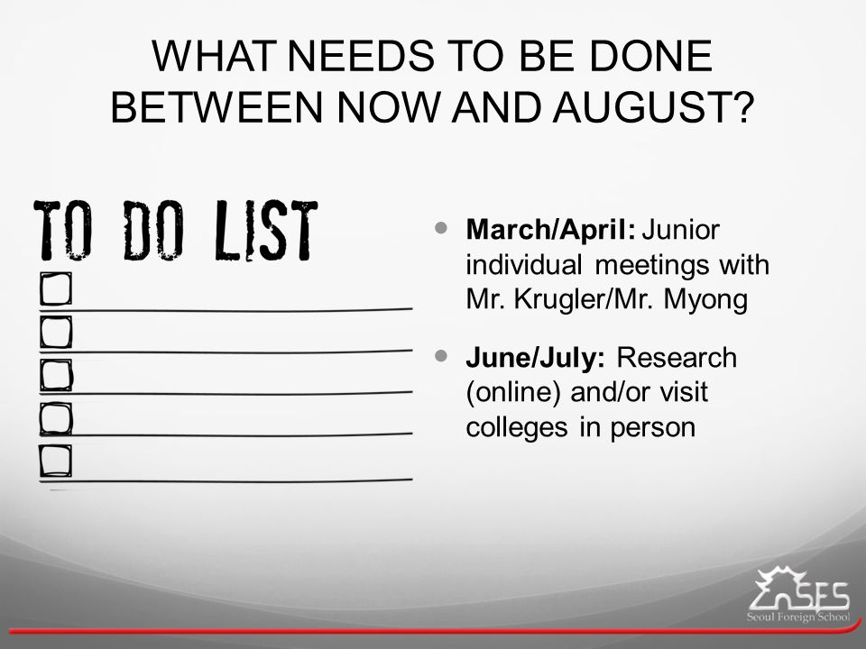 WHAT NEEDS TO BE DONE BETWEEN NOW AND AUGUST. March/April: Junior individual meetings with Mr.