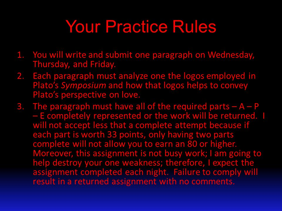 Your Practice Rules 1.You will write and submit one paragraph on Wednesday, Thursday, and Friday.