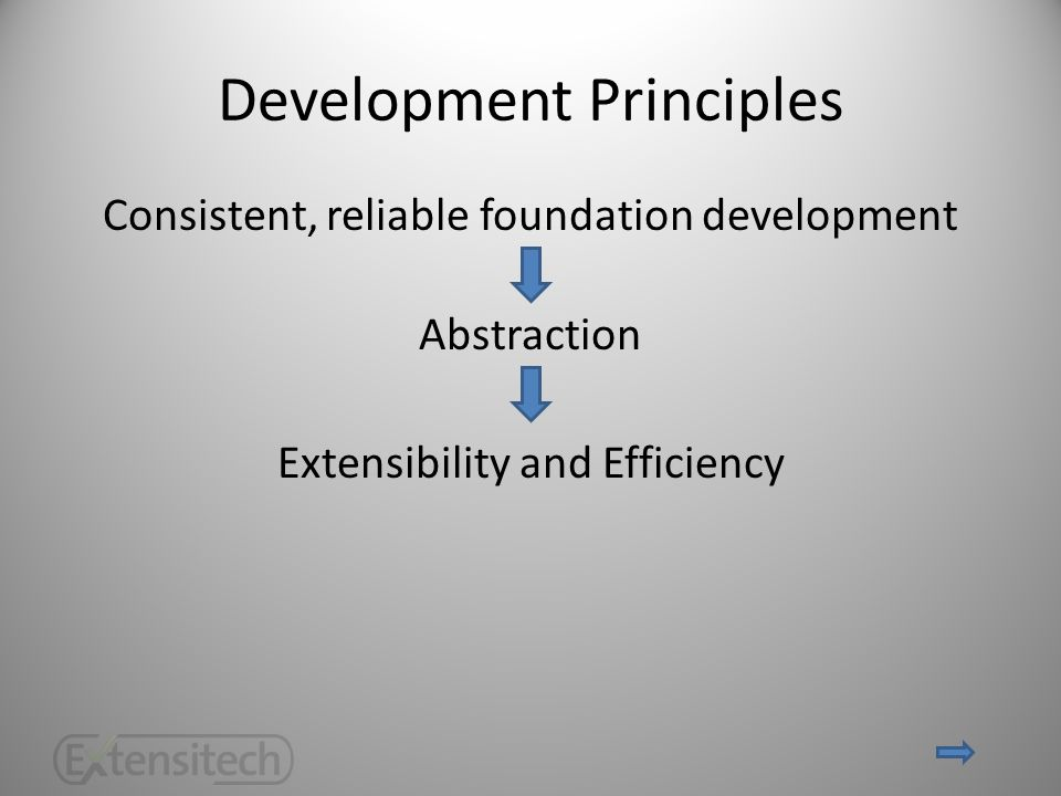 Development Principles Consistent, reliable foundation development Abstraction Extensibility and Efficiency