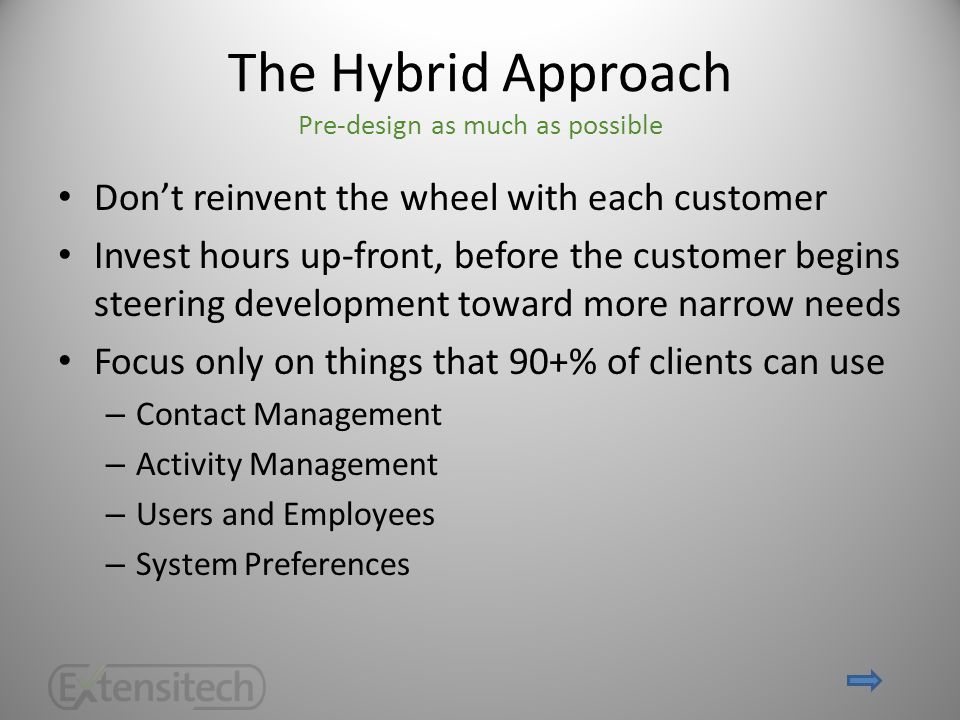 The Hybrid Approach Pre-design as much as possible Don't reinvent the wheel with each customer Invest hours up-front, before the customer begins steering development toward more narrow needs Focus only on things that 90+% of clients can use – Contact Management – Activity Management – Users and Employees – System Preferences