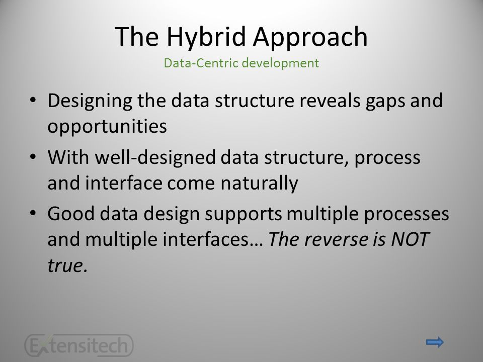 The Hybrid Approach Data-Centric development Designing the data structure reveals gaps and opportunities With well-designed data structure, process and interface come naturally Good data design supports multiple processes and multiple interfaces… The reverse is NOT true.