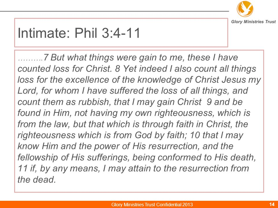 Intimate: Phil 3:4-11 ………. 7 But what things were gain to me, these I have counted loss for Christ.