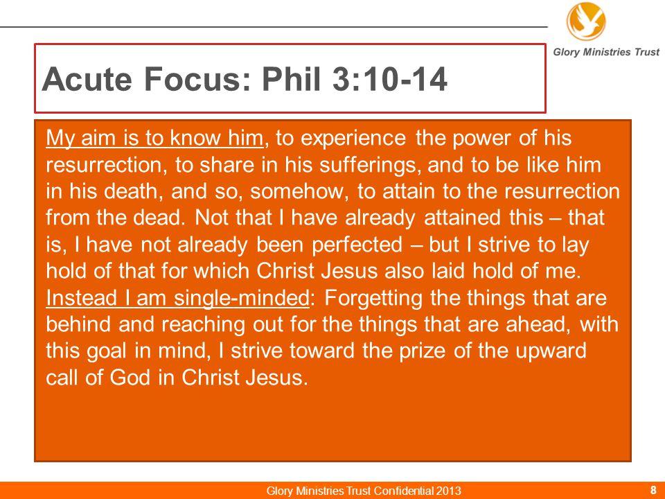 Acute Focus It was his focus, his aim to know Jesus.