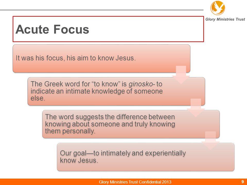 Paul teaches us……… Purpose Acute Focus SelflessSurrenderIntimateObedientNo quitter Glory Ministries Trust Confidential 201320