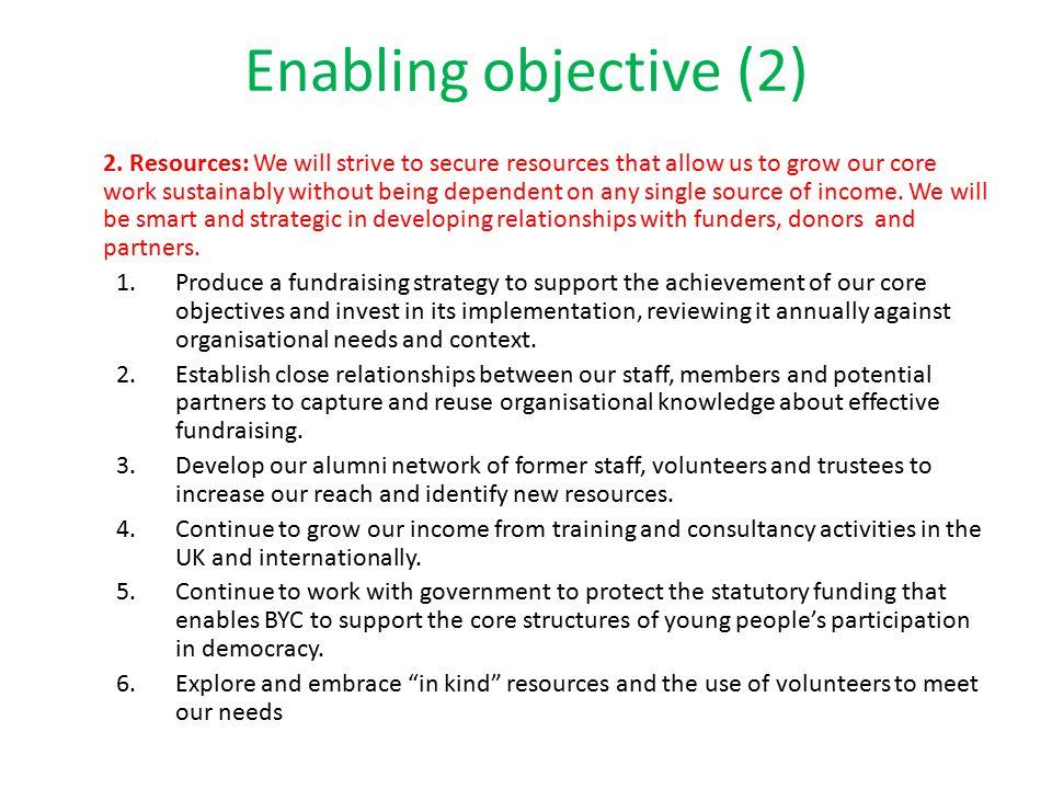 Enabling objective (2) 2.