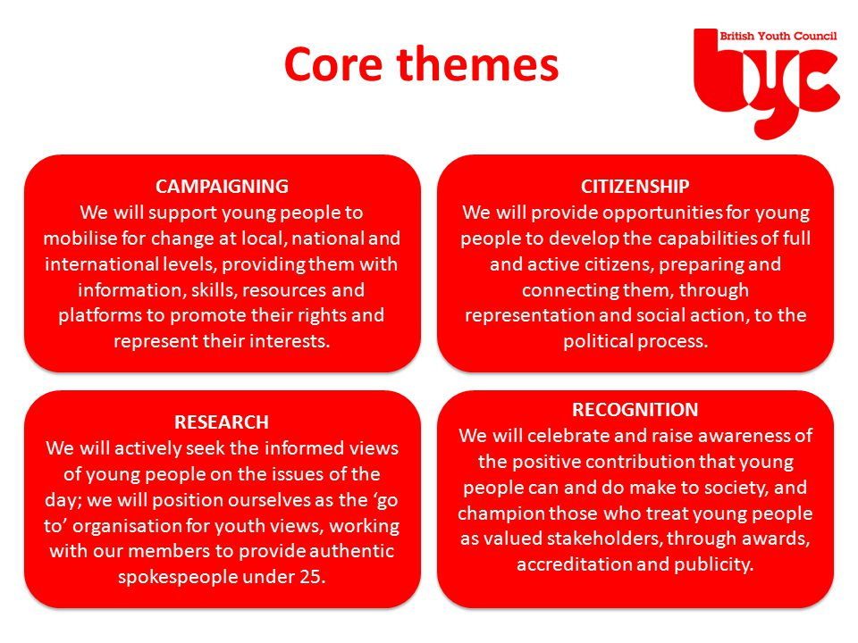 Core themes CAMPAIGNING We will support young people to mobilise for change at local, national and international levels, providing them with informati
