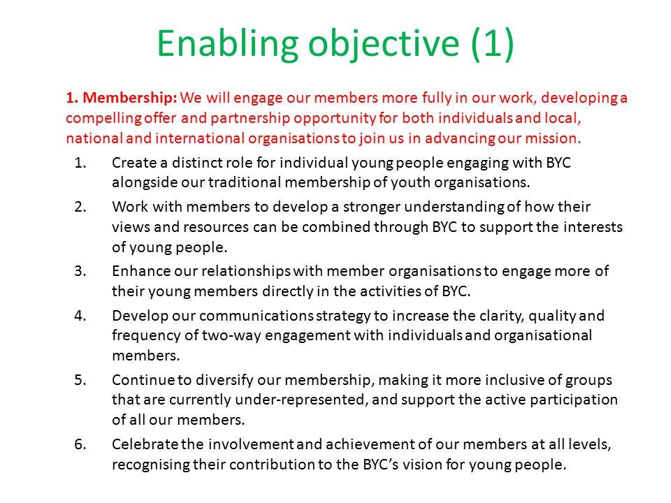 Enabling objective (1) 1.