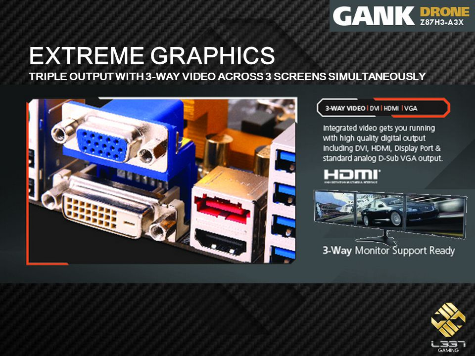 EXTREME GRAPHICS TRIPLE OUTPUT WITH 3-WAY VIDEO ACROSS 3 SCREENS SIMULTANEOUSLY