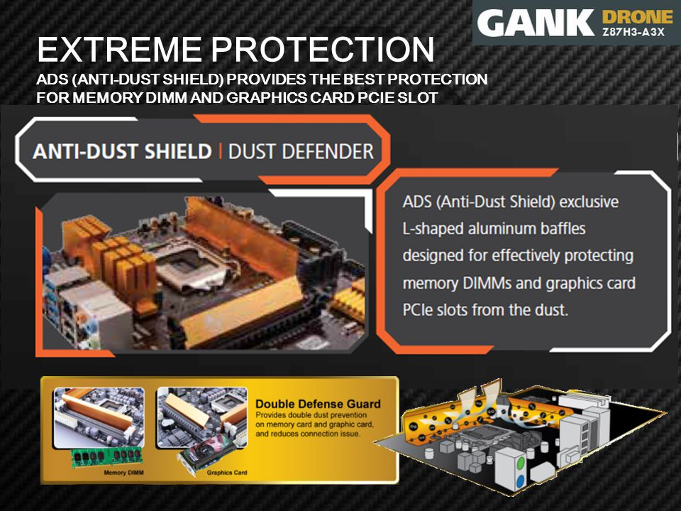 EXTREME PROTECTION ADS (ANTI-DUST SHIELD) PROVIDES THE BEST PROTECTION FOR MEMORY DIMM AND GRAPHICS CARD PCIE SLOT