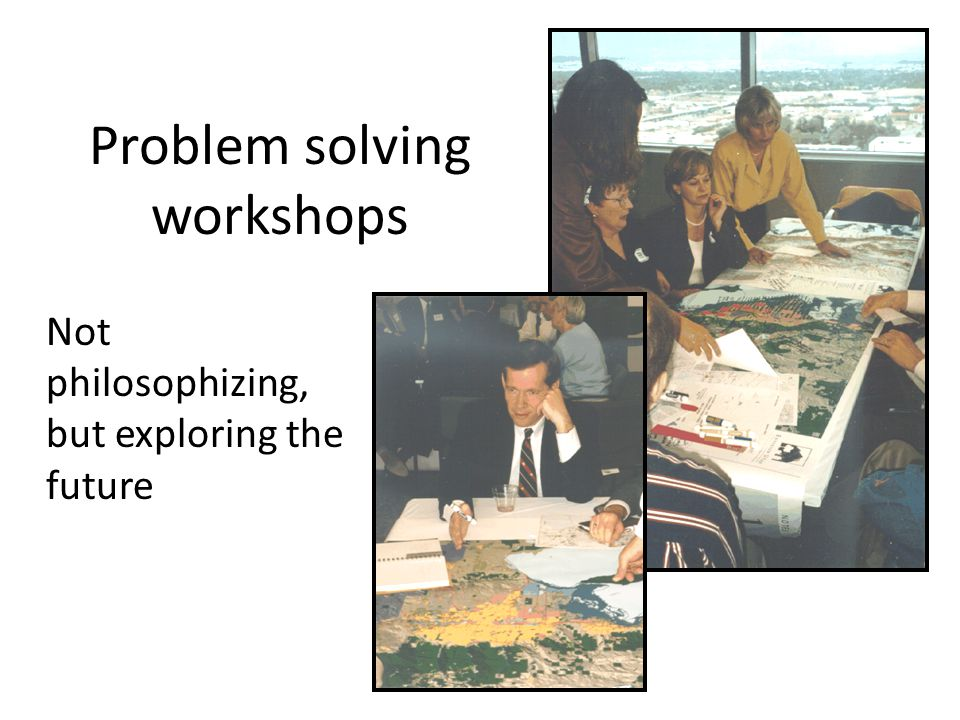 Not philosophizing, but exploring the future Problem solving workshops
