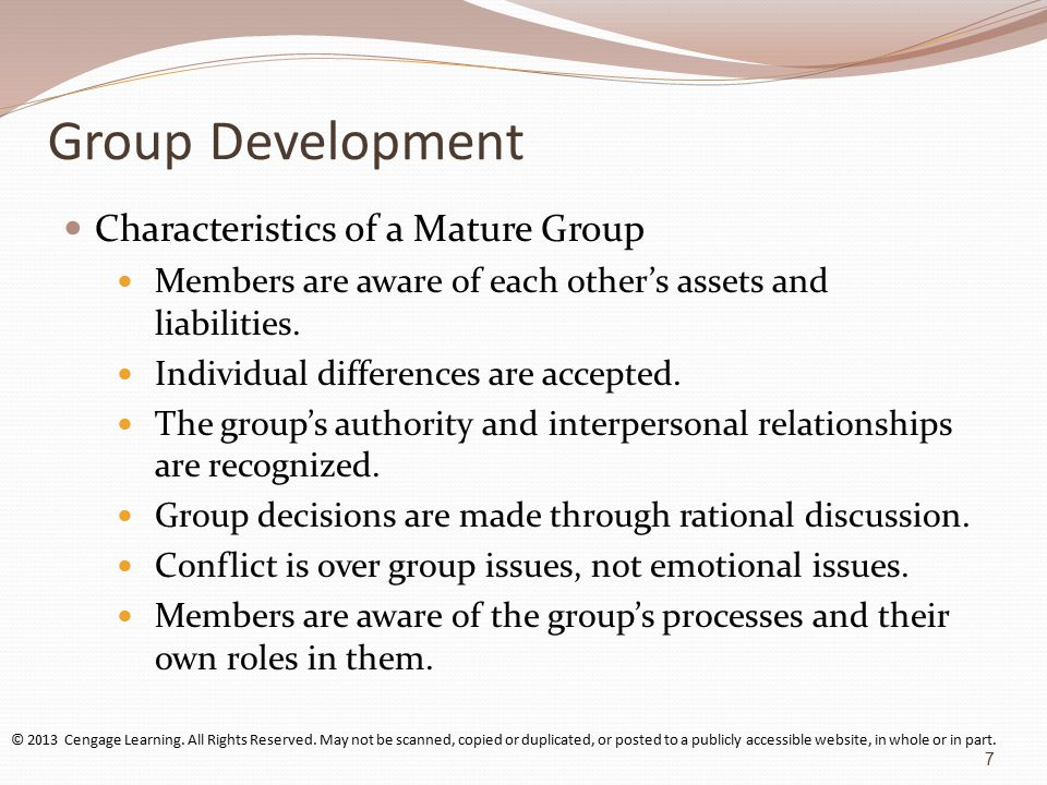 Group Development Characteristics of a Mature Group Members are aware of each other's assets and liabilities.
