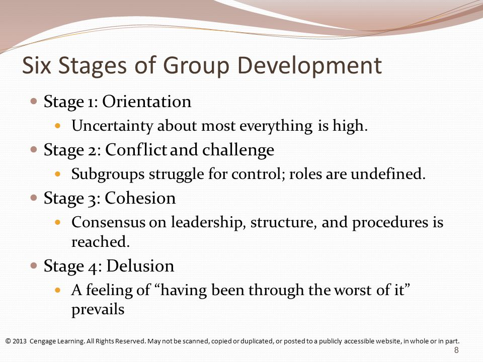 Six Stages of Group Development Stage 1: Orientation Uncertainty about most everything is high.