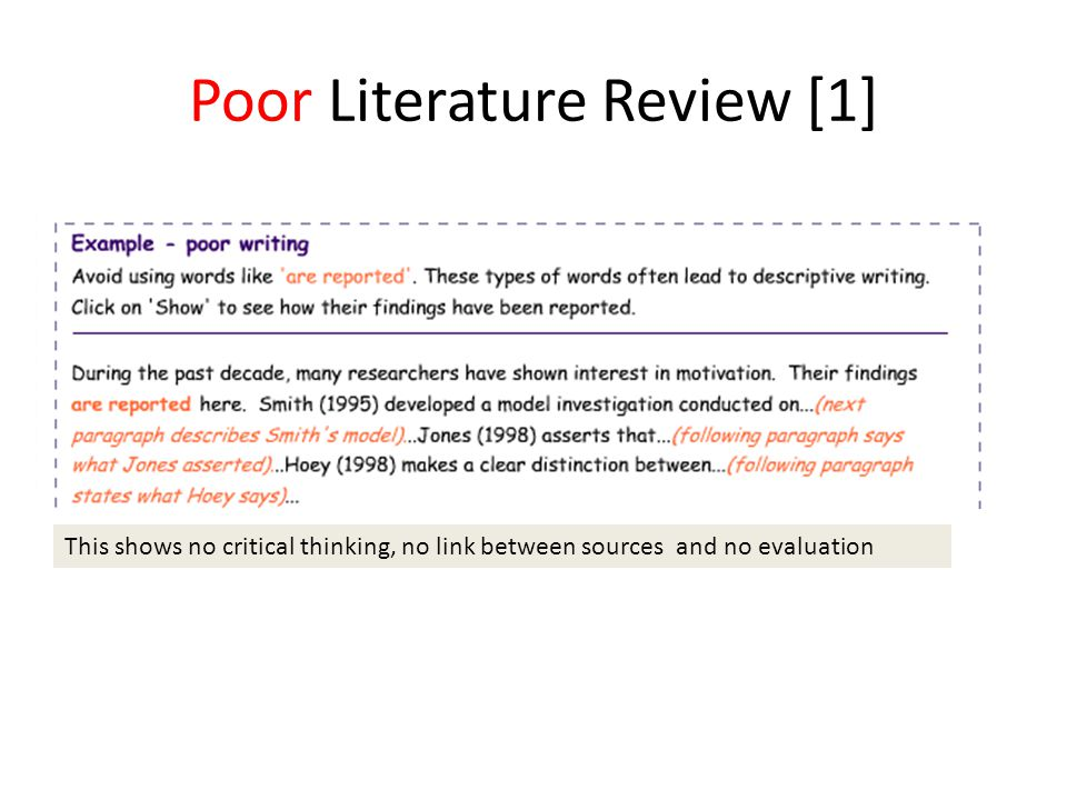 Poor Literature Review [1] This shows no critical thinking, no link between sources and no evaluation