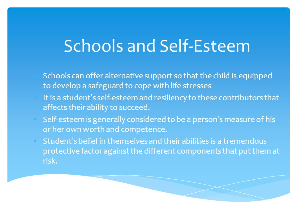 Schools and Self-Esteem Schools can offer alternative support so that the child is equipped to develop a safeguard to cope with life stresses It is a student's self-esteem and resiliency to these contributors that affects their ability to succeed.