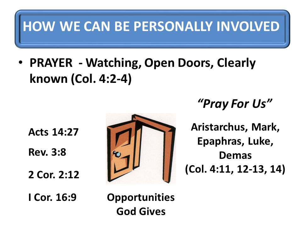 HOW WE CAN BE PERSONALLY INVOLVED PRAYER - Watching, Open Doors, Clearly known (Col.