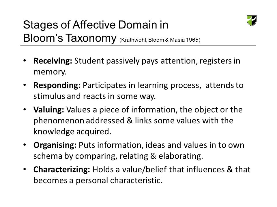 Stages of Affective Domain in Bloom's Taxonomy (Krathwohl, Bloom & Masia 1965) Receiving: Student passively pays attention, registers in memory. Respo