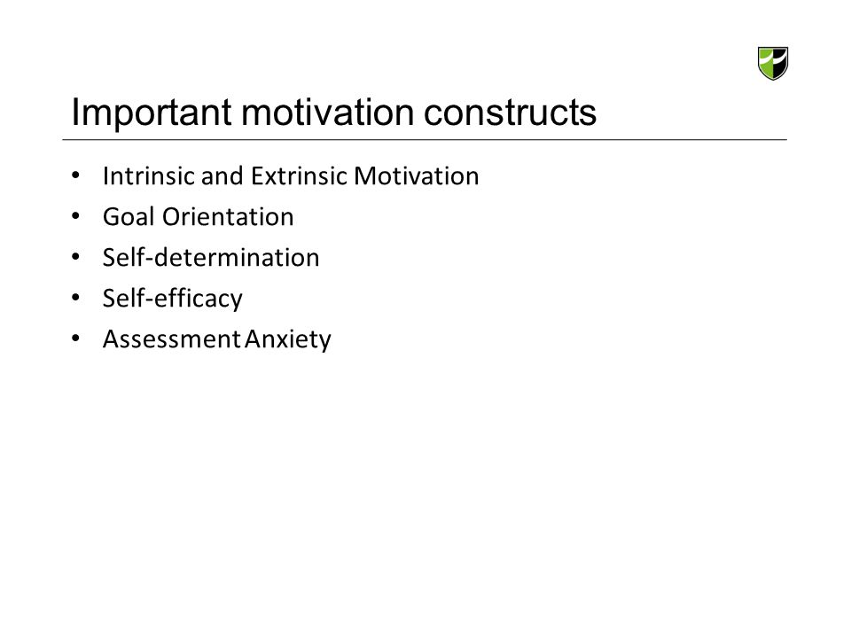 Important motivation constructs Intrinsic and Extrinsic Motivation Goal Orientation Self-determination Self-efficacy Assessment Anxiety