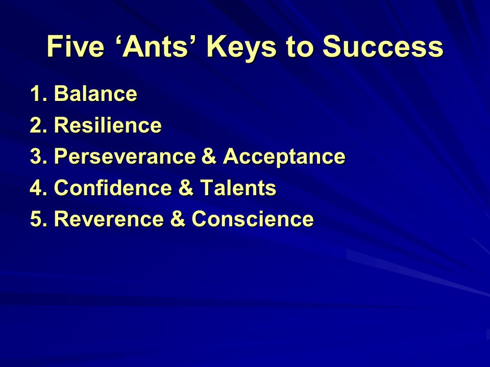 Interelated 'Ants' Keys to Success Balance Resilience Perseverance & Acceptance Confidence & Talents Reverence & Conscience