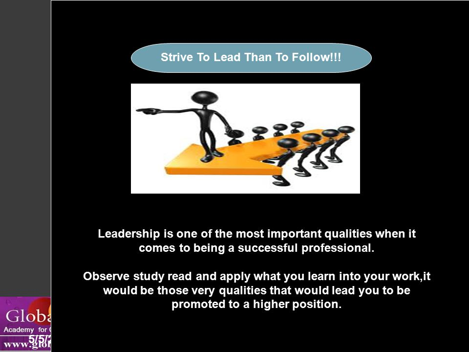 Be The Leader 5/5/201512 Leadership is one of the most important qualities when it comes to being a successful professional.