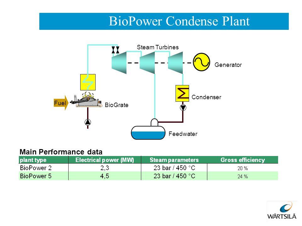 Main Performance data Generator Condenser BioGrate Steam Turbines Fuel Feedwater BioPower Condense Plant