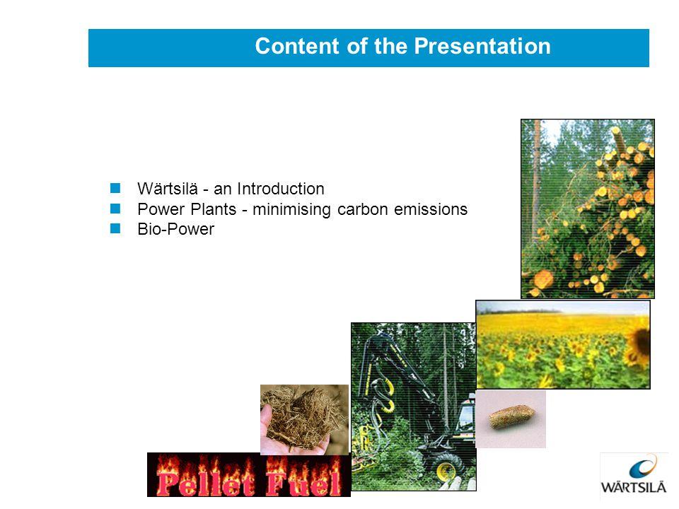 Wärtsilä - an Introduction Power Plants - minimising carbon emissions Bio-Power Content of the Presentation
