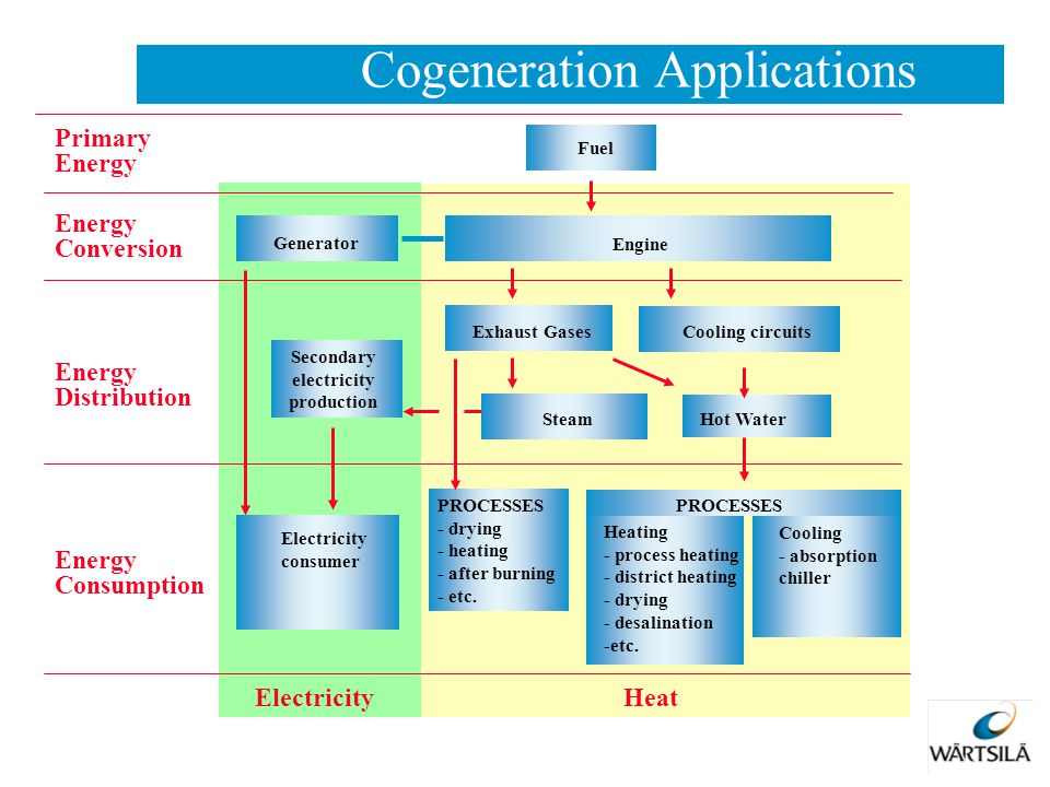 Secondary electricity production Electricity consumer Generator Primary Energy Conversion Energy Distribution Energy Consumption Electricity Engine Ex