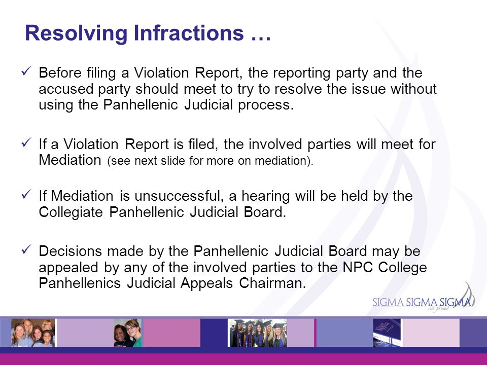 Resolving Infractions … Before filing a Violation Report, the reporting party and the accused party should meet to try to resolve the issue without us