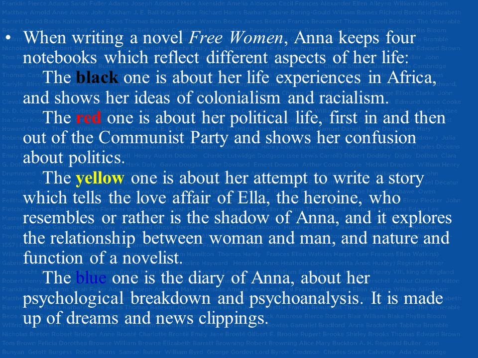 When writing a novel Free Women, Anna keeps four notebooks which reflect different aspects of her life: The black one is about her life experiences in Africa, and shows her ideas of colonialism and racialism.