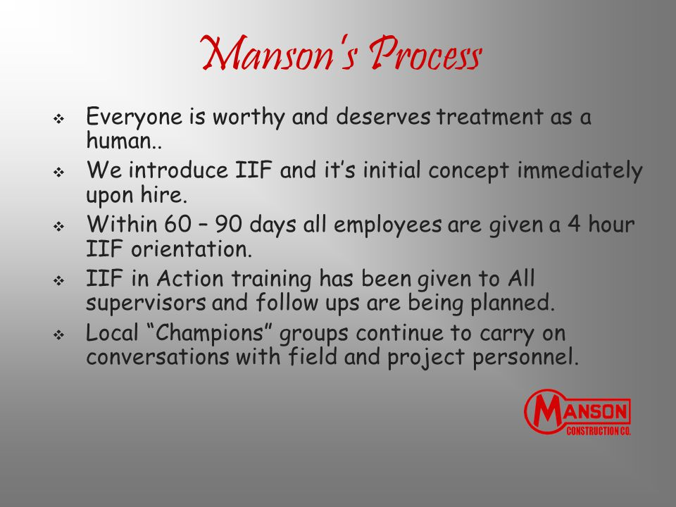 Manson's Process  Everyone is worthy and deserves treatment as a human..  We introduce IIF and it's initial concept immediately upon hire.  Within